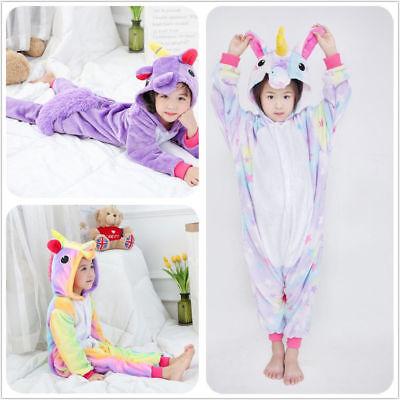 #Kids Girls Rainbow Unicorn Kigurumi Animal Cosplay Costume Pajamas Sleepwear#