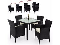 4 Seater Poly Rattan Garden Set with Stackable Chairs