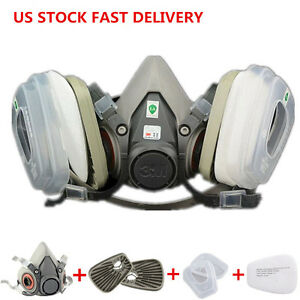US Set Gas Painting Spray Protection Respirator Half Face Mask For 3M 6200