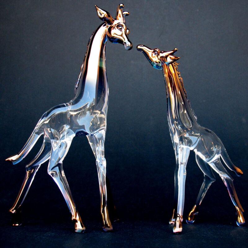 Giraffe Mother Baby Figurine Sculpture Hand Blown Glass