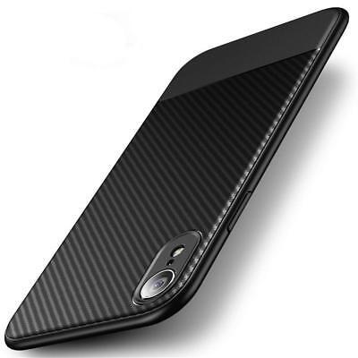 iPhone XR Hülle AVANA Schutzhülle Silikon Slim Case Schwarz Cover Carbon Optik ()