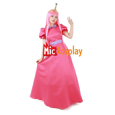 Adventure Time Princess Bubblegum Crown Cosplay Dispenser Costume Adult Dress