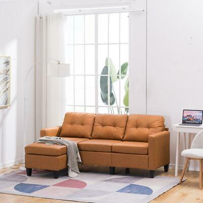 Hot Sectional Sofa Set PU Leather L-shaped Chaise Couch Living Room Light Brown