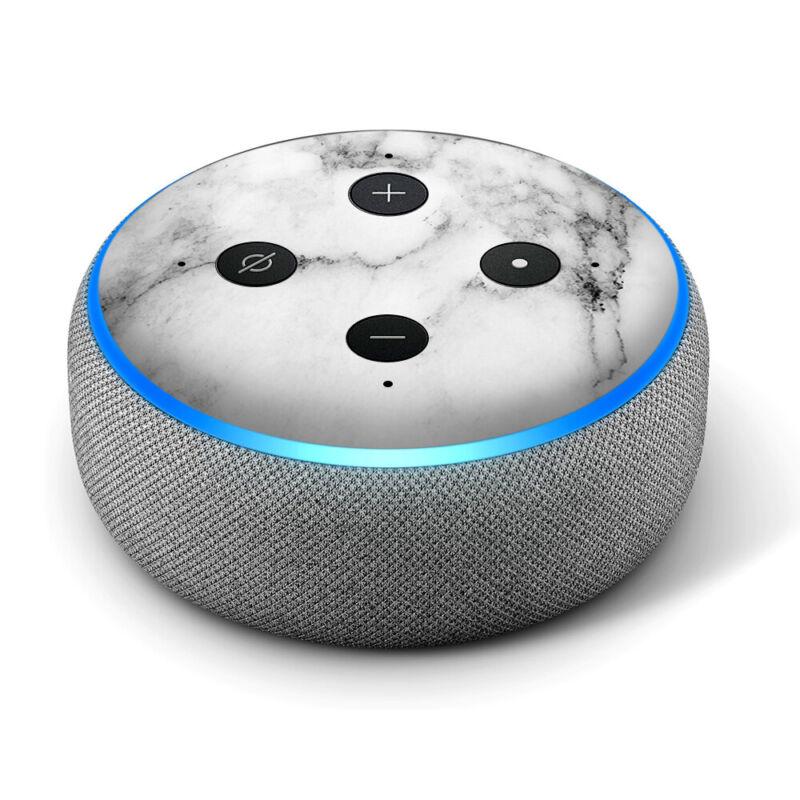 Vinyl Decal Skin for Amazon Echo Dot 3rd Gen - Light Black White Marble