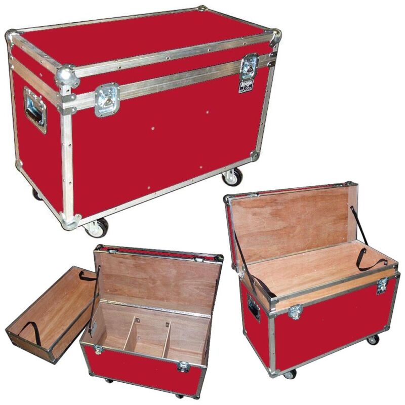 """ATA """"BULLY"""" Supply Trunk 1/4"""" Case w/2 Dividers - Top Tray - Wheels - RED CASE"""