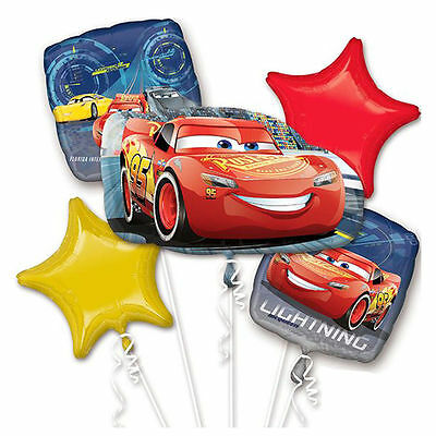 Disney Cars 3 Lightning McQueen Birthday Foil Balloon Bouquet Party Supplies - Mcqueen Birthday Supplies