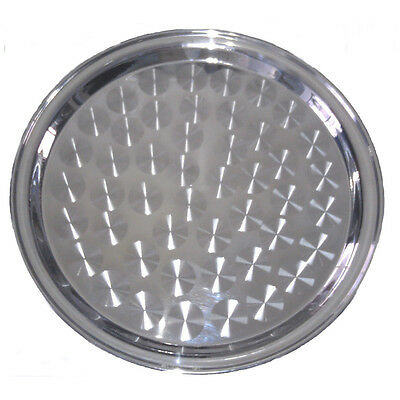 Winco Strs-16 16-inch Round Swirl Service Tray Stainless Steel