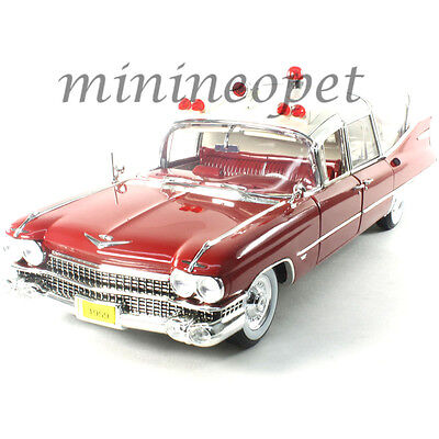 (GREENLIGHT 18001 PRECISION COLLECTION 1959 CADILLAC AMBULANCE 1/18 RED / WHITE )