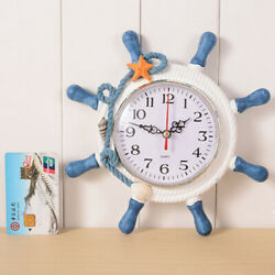 Mediterranean Style Ticking Silent Wall Clock Retro Nautical Home Decor Craft