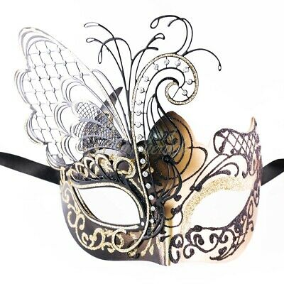 Black and Gold Butterfly Venetian Metal Masquerade Mask for Women - Butterfly Masquerade Mask