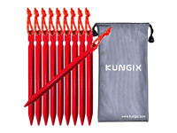 Kungix Camping Tent Stakes Pegs 18cm Aluminium Alloy with Reflective Rope 10-Piece