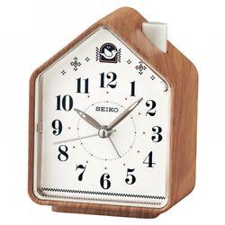 Seiko QHP005A Bedside Beep Alarm or 2 Bird Songs Clock Wood Pattern