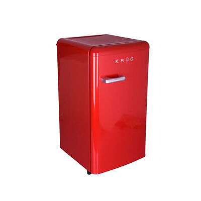 Krug Retro Fridge Red Chrome Handle Compact Under Counter 88L A+ Energy Rating
