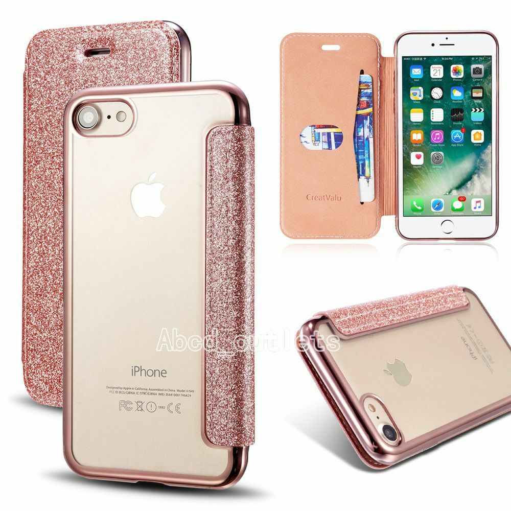 new concept f4e47 3d5e8 Details about Bling Glitter Leather Flip Case Silicone Cover Wallet for  iPhone x 6s 7 8 plus 8