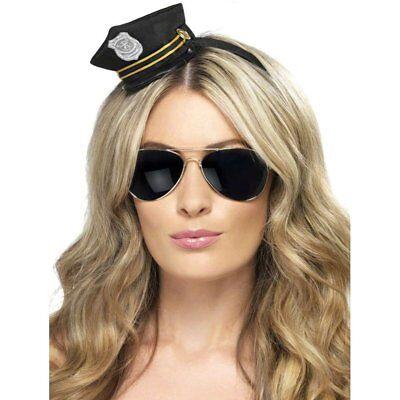 Erwachsene Mini Polizei Hut Damen Schwarz Polizist Offizier Kostüm Neu