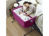 Chicco Next 2 Me crib never used fuchsia and 2 sheets