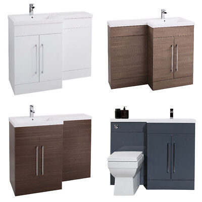Bathroom Vanity Unit Furniture Back to Wall WC Toilet Basin Sink L Shaped Choice