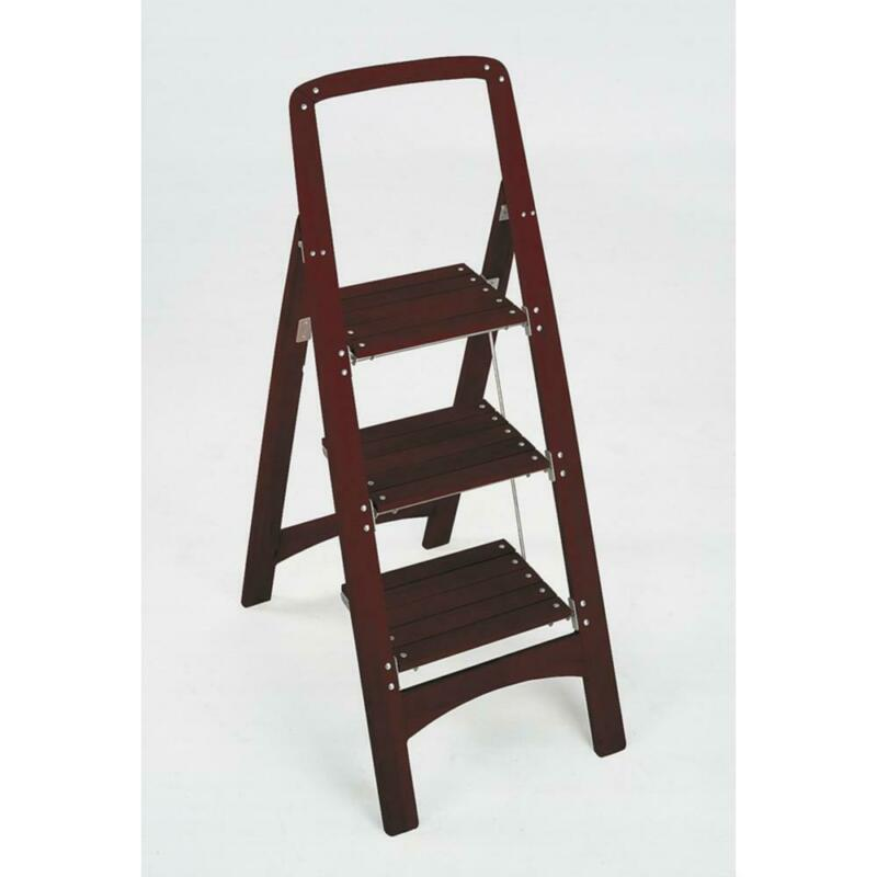 Cosco Step Stool Ladder Rockford Series Folds Flat Mahogany