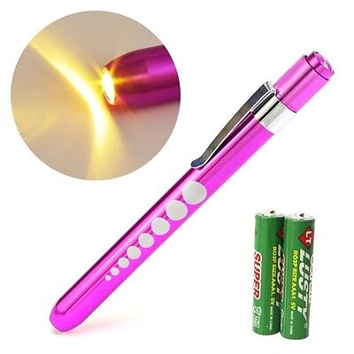 Pink Reusable Nurse Aluminum Penlight Pocket Medical Led Pupil Gaugebatteries