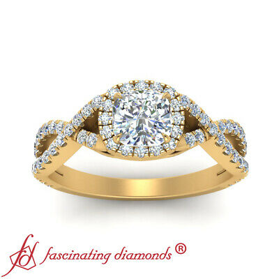 1 Carat Cushion Cut Diamond Infinity Twist Halo Engagement Ring In Yellow Gold 2