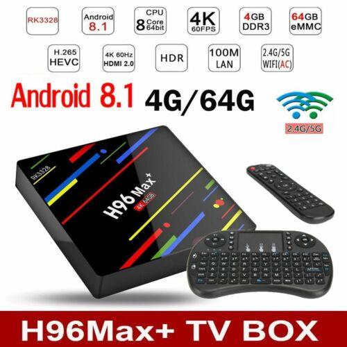 4GB/64GB H96 MAX Plus+ Android 8.1 Smart TV Box Quad Core USB3.0 WIFI + Keyboard