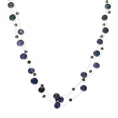 Black Freshwater Cultured Pearl Illusion Strand Necklace Silver -
