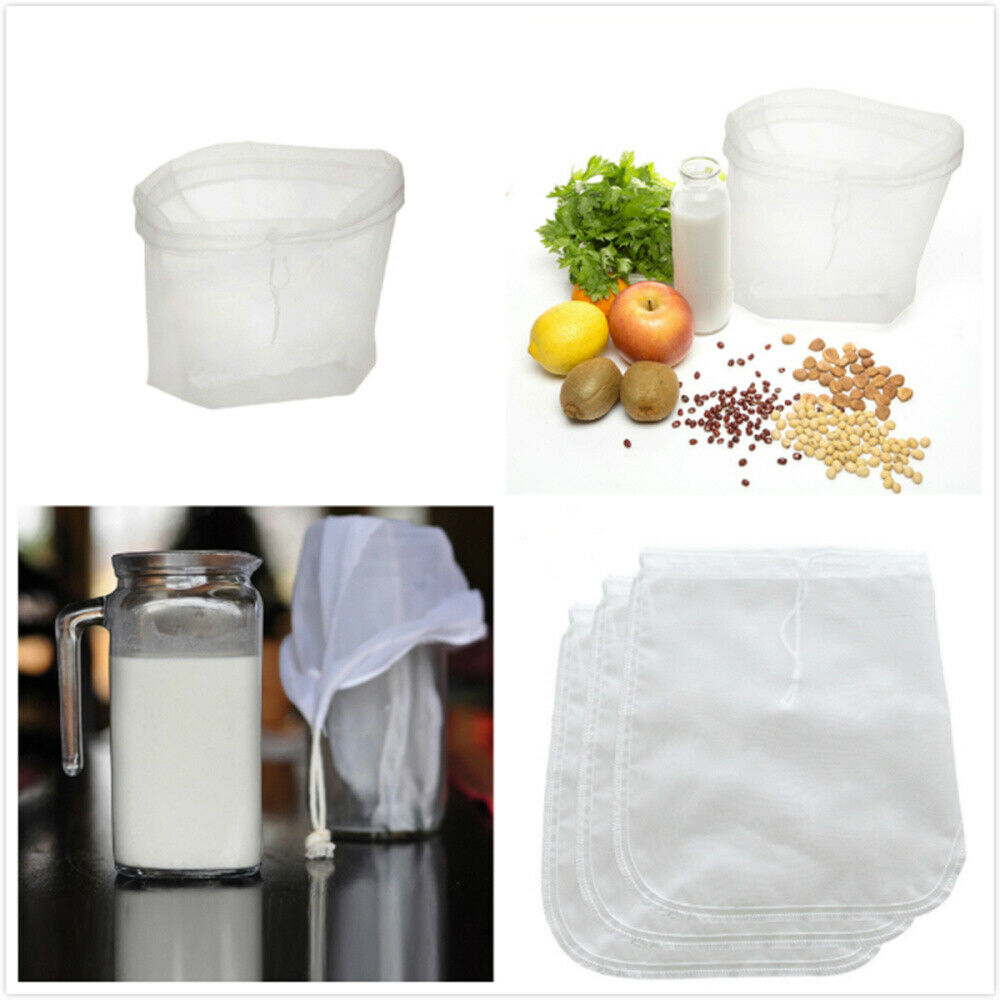 reusable nut milk tea fruit juice finest NYLON mesh strain filter bag brew wine