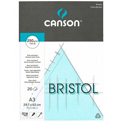 Canson : Bristol Drawing Paper : Pad : A3 : 20 Sheets : White : Extra Smooth