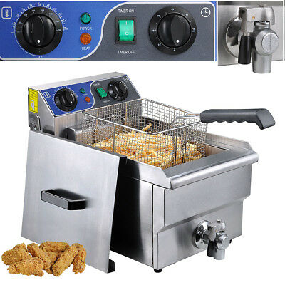 Commercial Restaurant Electric 11.7l Deep Fryer Stainless Steel W Timer Drain