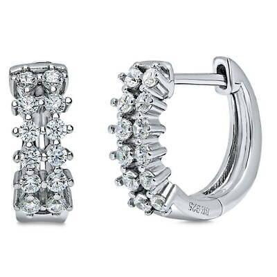 0.5' Hoop Huggie Earrings - BERRICLE Sterling Silver Cubic Zirconia Small Fashion Hoop Huggie Earrings 0.5