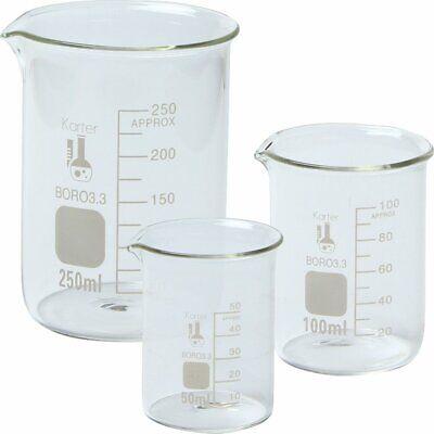 Glass Beaker Set 3 50 100 250ml Karter Scientific 214t2 Boro Griffin Low Form