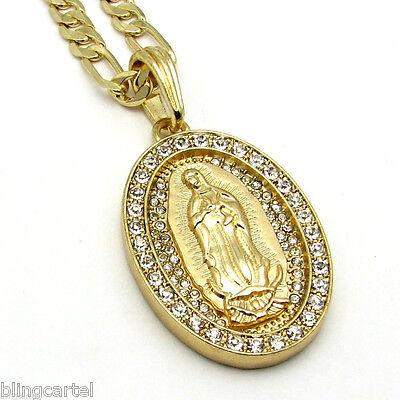 - La Virgen De Guadalupe Virgin Mary Gold Plated Oval Pendant 24