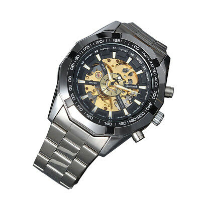 Skeleton Dial Automatic Mechanical Mens Stainless Steel Band Wrist Watch Fashion