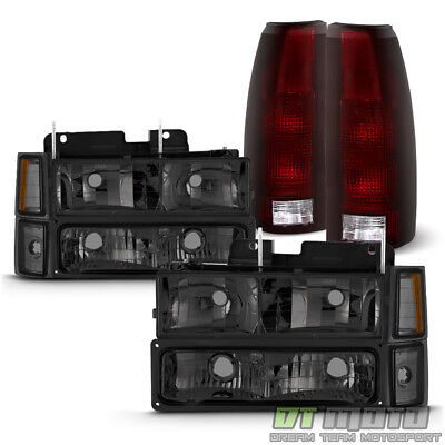 1994-1998 Chevy Silverado Smoked Headlights+Corner Bumper+Dark Red Tail Lights