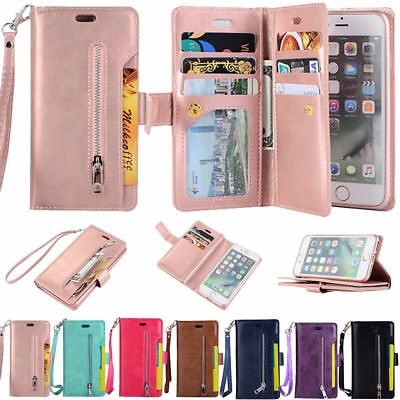 For iPhone 6S 7 8 Plus X Card Wallet Flip Leather Stand Zipper Phone Case Cover