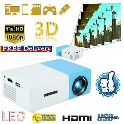 Mini Pocket YG300 Blue 3D Projector LED HD 1080p Home Theater Cinema USB HDMI SD