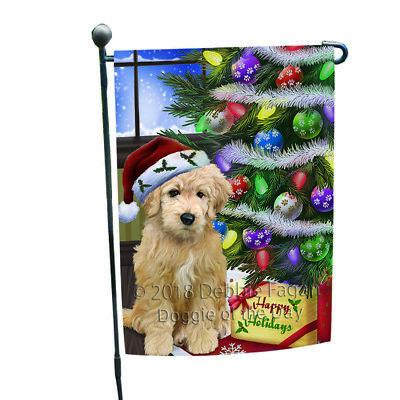 Christmas Happy Holidays Goldendoodle Dog Tree Presents Garden Flag GFLG53520