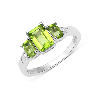 (Rectangle 3 Stone Genuine Peridot August Birthstone Ring in 925 Sterling Silver)