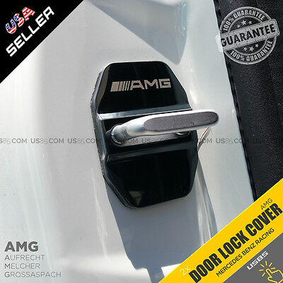 2x Chrome Black AMG Door Car Lock Protective Cover Sticker Badge Decoration