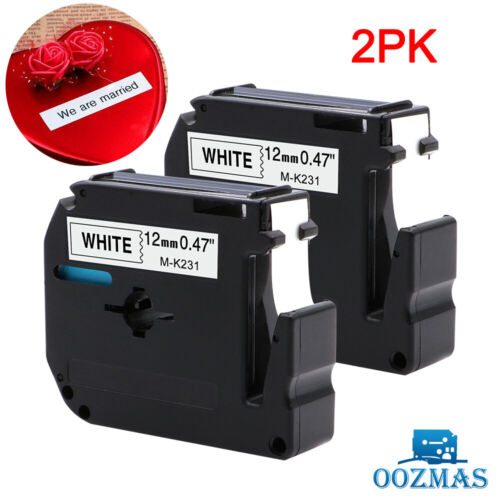 """2PK M-K231 MK231 Label Tape Compatible Brother P-Touch Black on White 12mm 1/2"""""""