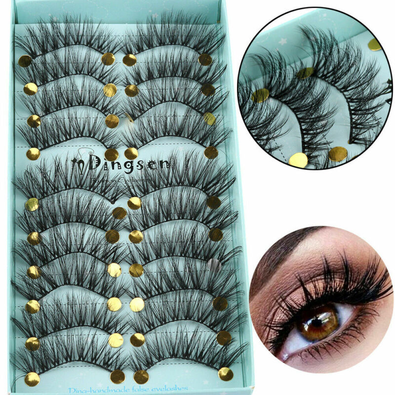 10 Pairs Fashion 3D Faux Mink Hair False Eyelashes Cross Wis
