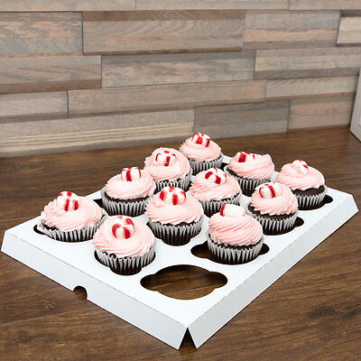 200 Case White Cupcake Insert Standard 12 Cupcakes For Bakery Cake Box 10  X 14