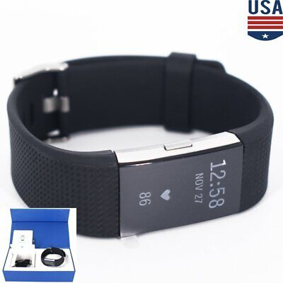 Fitbit Charge 2 Heart Rate Monitor Fitness Activity Tracker FB407SBUL Black US