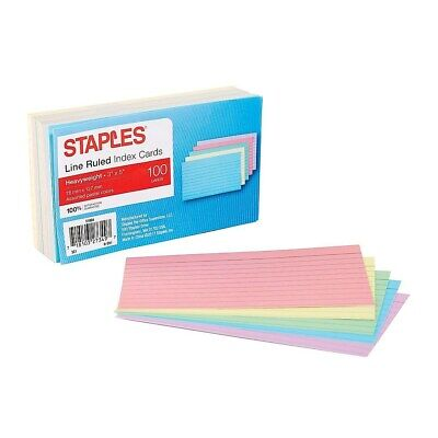 Staples Heavyweight Ruled 3 X 5 Index Cards Assorted Pastel 100pk 51004