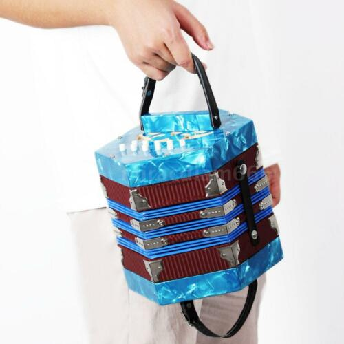 High Quality Concertina Accordion 20-Button 40-Reed Anglo Style W/Bag Blue Gift