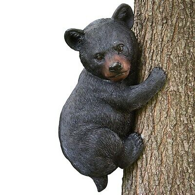 Little Bear Cub Statue Tree Hugger Garden Sculpture Animal Resin Outdoor Decor