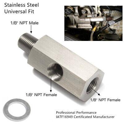 Oil Pressure Sensor Tee 1/8'' NPT To Adapter Parts Turbo Supply Feed Line Gauge
