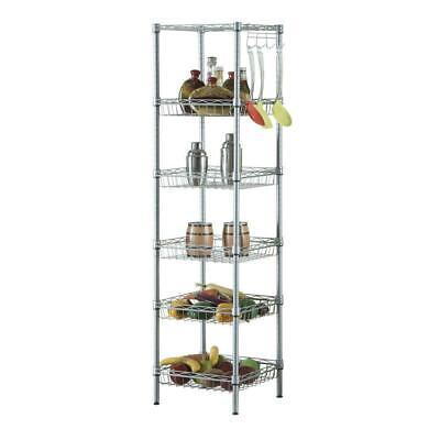 6-tier Kitchen Adjustable Corner Shelving Steel Wire Storage Rack Holder