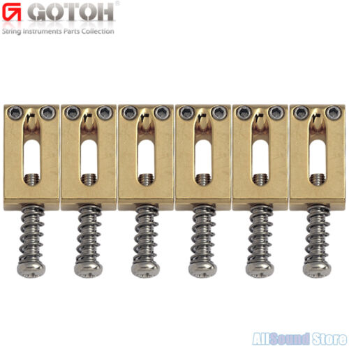 GOTOH S11 Set of 6 SOLID BRASS Tremolo/Bridge Saddles for Strat® Tele® - GOLD