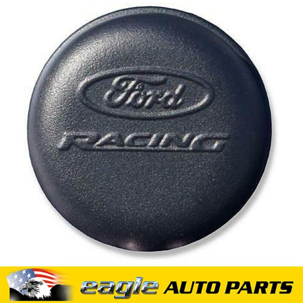 Ford Racing Breather Cap Push-in Round Steel Chrome Ford Racing Logo Each